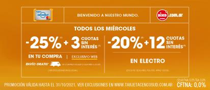 H-MTC02 - 25% + 3 cuotas en toda la compra
